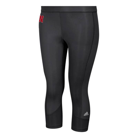 Nebraska Cornhuskers NCAA Adidas Women's Black Techfit Solid 3/4 Tights