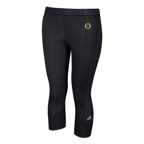Boston Bruins NHL Adidas Women's Black Techfit Solid 3/4 Tights