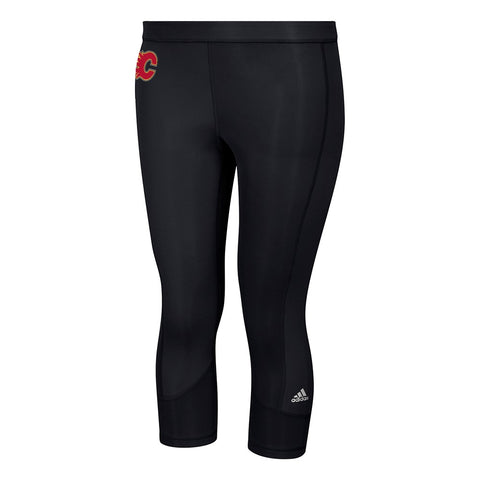 Calgary Flames NHL Adidas Women's Black Techfit Solid 3/4 Tights