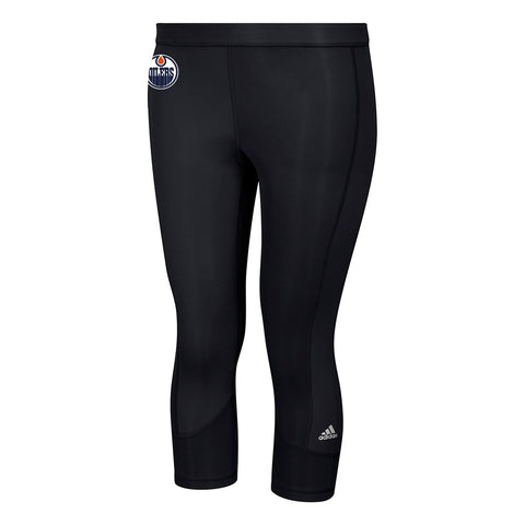 Edmonton Oilers NHL Adidas Women's Black Techfit Solid 3/4 Tights