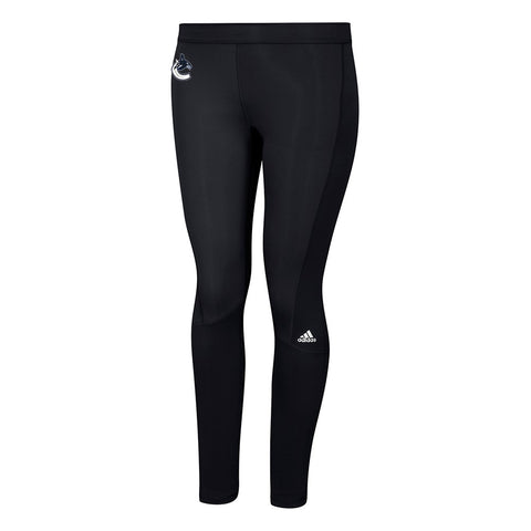 Vancouver Canucks NHL Adidas Women's Team Logo Black Techfit Solid Long Tights