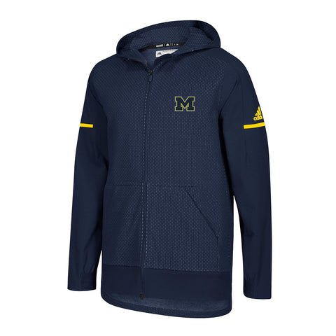 Michigan Wolverines NCAA Adidas Men's 2018 Sideline Navy Blue Squad Jacket