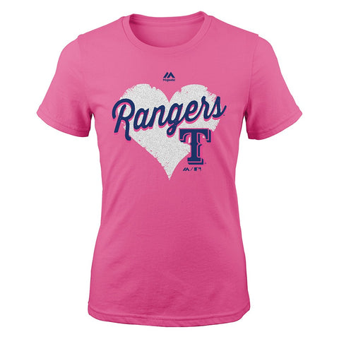 "Texas Rangers Majestic MLB Youth Youth Pink ""Heart Felt"" Graphic T-Shirt"