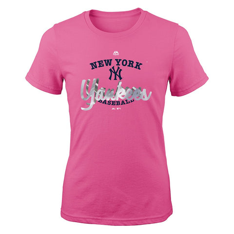 "New York Yankees Majestic MLB Girls Youth Pink ""Overlap"" Graphic T-Shirt"