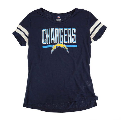 "LA Chargers Outerstuff NFL Girls Youth Navy Blue Burnout ""Big Stack"" T-Shirt"