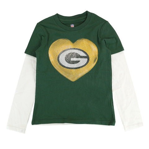 "Green Bay Packers NFL Youth Green ""Watercolors"" Long Sleeve Layer T-Shirt"