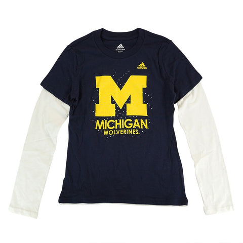 "Michigan Wolverines Adidas NCAA Youth ""Logo Bling Swirl"" Long Sleeve Shirt"