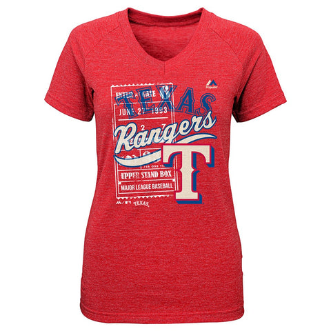 "Texas Rangers Majestic MLB Youth Red ""Terrorizing Play"" V-Neck T-Shirt"