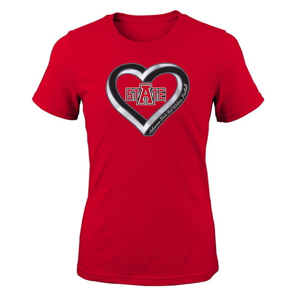 "Arkansas State Red Wolves NCAA Youth Red ""Infinite Heart"" T-Shirt"