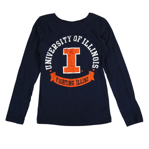 "Illinois Fighting Illini NCAA Youth Navy Blue ""Blue Ribbon"" Long Sleeve T-Shirt"