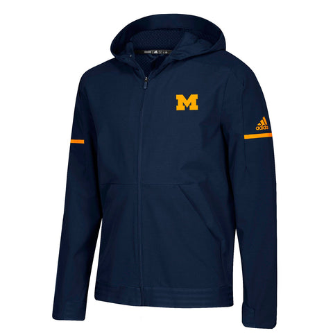 Michigan Wolverines NCAA Adidas Men's 2018 Sideline Navy Blue Woven Jacket