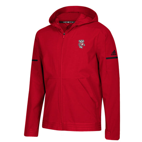 Wisconsin Badgers NCAA Adidas Men's 2018 Sideline Red Team Squad Woven Jacket
