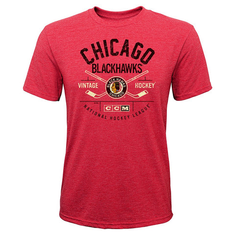 "Chicago Blackhawks CCM NHL Youth Red ""Even Strength"" Retro Tri-Blend T-Shirt"