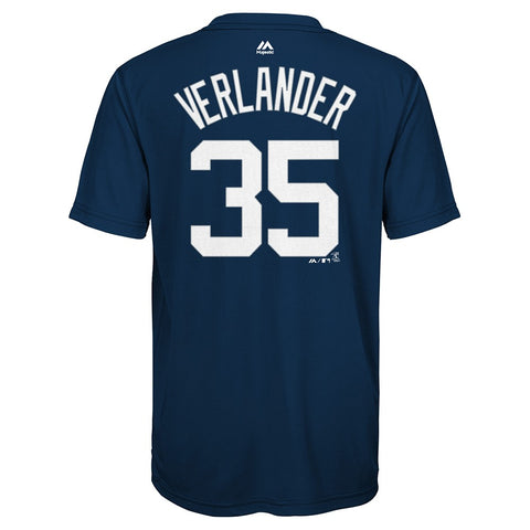 Justin Verlander MLB Majestic Detroit Tigers Synthetic Jersey T-Shirt Youth S-XL