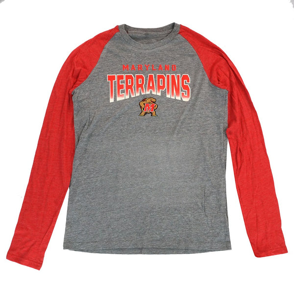 Maryland Terrapins NCAA Youth Grey Triblend Raglan Long Sleeve T-Shirt