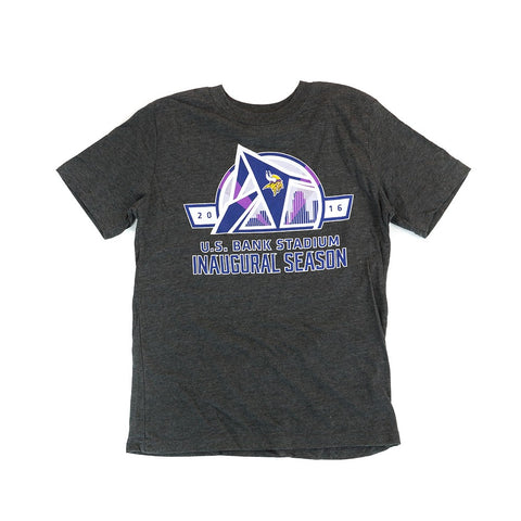 "Minnesota Vikings Outerstuff NFL Youth Grey ""US Bank Stadium"" T-Shirt"
