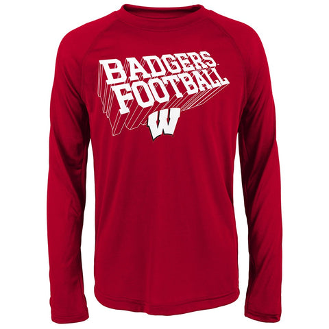 "Wisconsin Badgers NCAA Youth Red ""Frequency"" Climalite Long Sleeve T-Shirt"