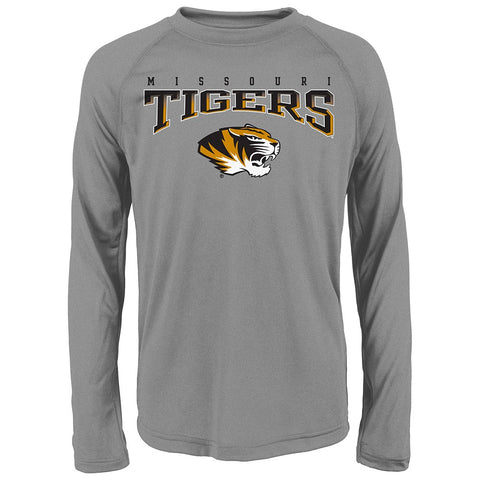 "Missouri Tigers NCAA Youth Grey ""Fadeout"" Long Sleeve Performance T-Shirt"