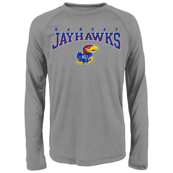 "Kansas Jayhawks NCAA Youth Grey ""Fadeout"" Long Sleeve Performance T-Shirt"