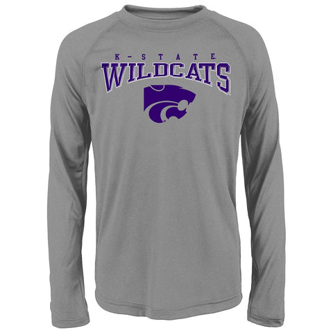 "Kansas State Wildcats NCAA Youth Grey ""Fadeout"" Long Sleeve Performance T-Shirt"