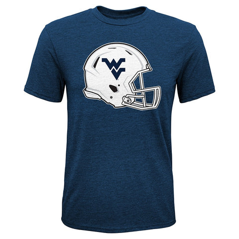 "West Virginia Mountaineers NCAA Youth Navy ""Sketch Helmet"" Triblend T-Shirt"