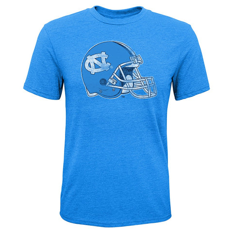 "North Carolina Tar Heels NCAA Youth Lt Blue ""Sketch Helmet"" Triblend T-Shirt"
