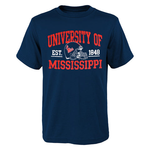 "Ole Miss Rebels NCAA Youth Navy Blue ""Arch & Helmet"" Short Sleeve T-Shirt"