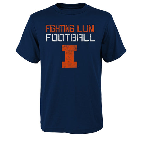 "Illinois Fighting Illini NCAA Youth Navy Blue ""Concrete"" T-Shirt"