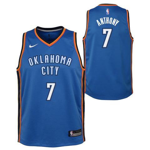 Carmelo Anthony Oklahoma City Thunder NBA Nike Youth Blue Icon Swingman Jersey
