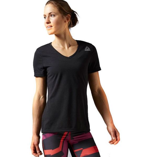 Reebok Women's Workout Ready Stacked Logo Supremium T-Shirt (Black) AP4282