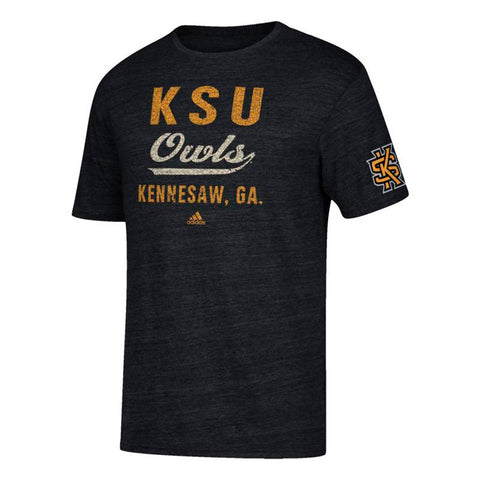 "Kennesaw State Owls NCAA Adidas ""Stenciled Sweep Vault"" Black Tri-Blend T-Shirt"