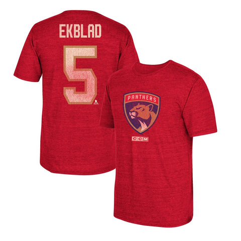 Aaron Ekblad CCM Florida Panthers Vintage Player N&N Red Jersey T-Shirt Men's