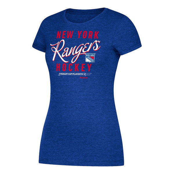 New York Rangers Hockey Reebok 2017 Stanley Cup Playoffs Blue T-Shirt Women's