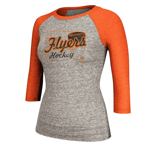 Philadelphia Flyers CCM Team Bigger Logo Vintage 3/4 Sleeve Raglan T-Shirt Women