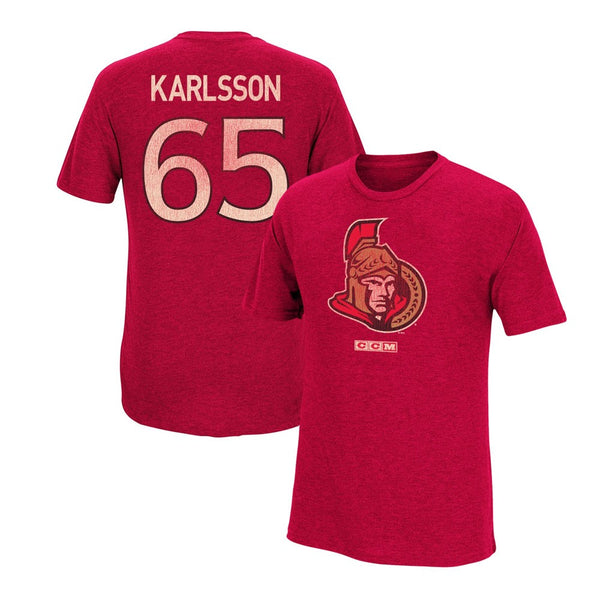 Erik Karlsson CCM Ottawa Senators Team Logo Vintage Player Jersey T-Shirt Men's