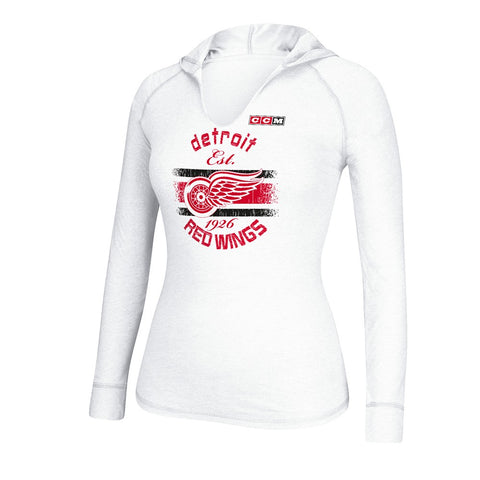 Detroit Red Wings  Reebok NHL White Vintage Heathered Hooded Long Sleeve T-Shirt