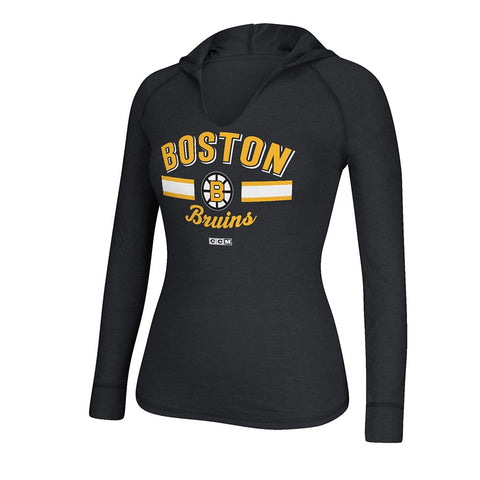 Boston Bruins CCM Vintage Team Logo Hooded Black Long Sleeve T-Shirt Women's