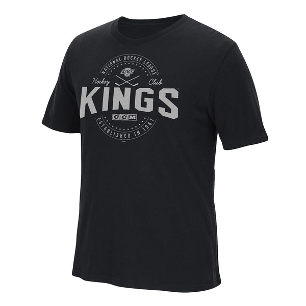 Los Angeles Kings CCM  Team Logo Black Vintage Brushed T-Shirt Men's