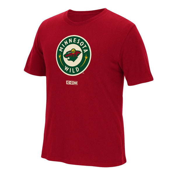 Minnesota Wild CCM Primary Team Logo Red Vintage Brushed T-Shirt Men's