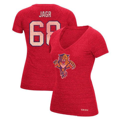 Jaromir Jagr CCM Florida Panthers V-Neck N&N Jersey T-Shirt Women's