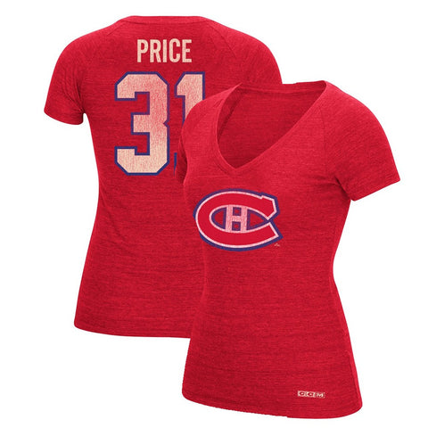 Carey Price CCM Montreal Canadiens V-Neck N&N Jersey T-Shirt Women's