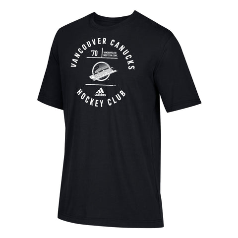 Vancouver Canucks NHL Adidas Men's Adi Emblem Black Premium Cotton T-Shirt