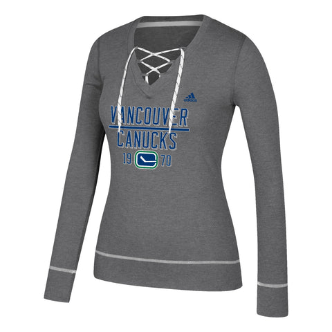 "Vancouver Canucks NHL Adidas Women's Grey ""Bar Down"" Skate Lace Top Fleece"