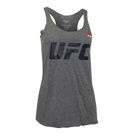 Reebok UFC Women's Grey Official Logo Tri-Blend Racer Back Tank Top