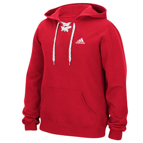 Adidas Men's Red Adi Badge Of Sport Logo Lace-Up Pullover Hoodie Fleece