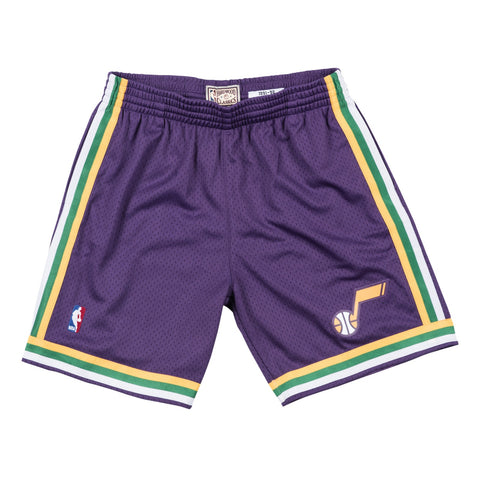 Utah Jazz 1991 NBA Mitchell & Ness Road Purple Swingman Shorts Men's