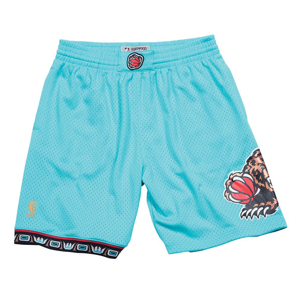 1996-97 Vancouver Grizzlies Mitchell & Ness Road Teal Swingman Throwback Shorts