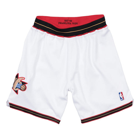 Philadelphia 76ers 1997-98 Mitchell & Ness Authentic Home White HWC Shorts Men's