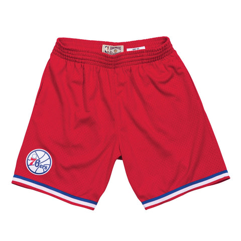 1982-83 Philadelphia 76ers Mitchell & Ness Road Red Throwback Swingman Shorts