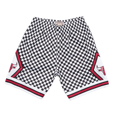 Chicago Bulls Mitchell & Ness Men Black & White Checkered Swingman Shorts